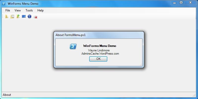 PowerShell WinForms Menu | AdminsCache